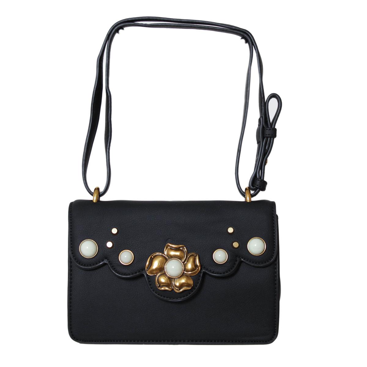 Сумка женская Flioraj, цвет: черный. 0005224200052242Стильная сумочка для настоящих модниц. Внутри на задней стенке карман на молнии и карман для телефона. Высота ручек 25 см.