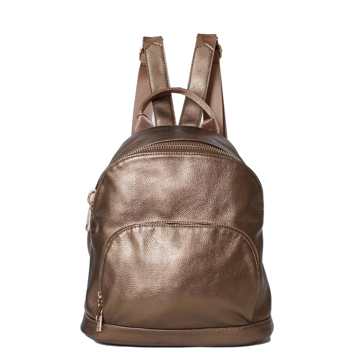 Рюкзак женский Flioraj, цвет: коричневый. 0005244300052443Закрывается на молнию. Внутри одно отделение, два кармана на молнии, три открытых кармана. Снаружи два кармана на молнии. Высота ручки - 8 см.