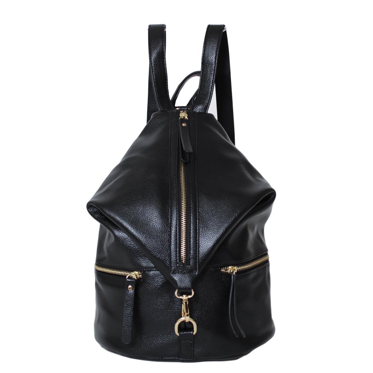 Рюкзак женский Flioraj, цвет: черный. 0005245400052454Закрывается на молнию. Внутри один карман на молнии. Снаружи два кармана на молнии. Высота ручки - 9 см.