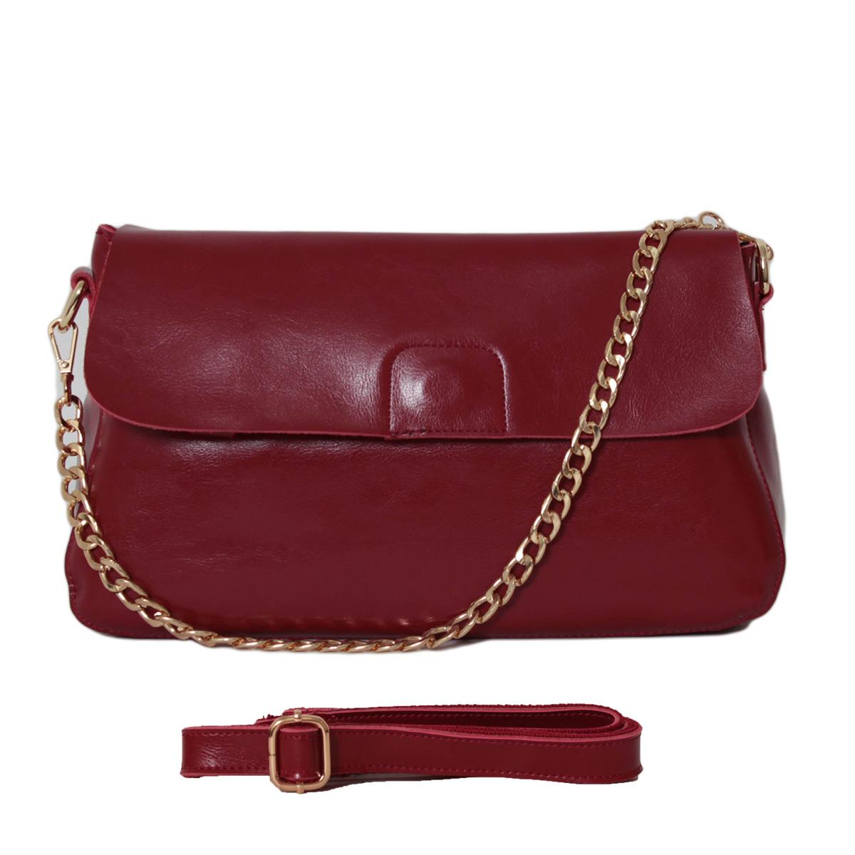 Сумка женская Flioraj, цвет: бордовый. 0005247600052476Закрывается на молнии и декоративный клапан. Внутри два отделения, один карман на молнии. Имеется задний и передний карман на молнии. Длинный ремень