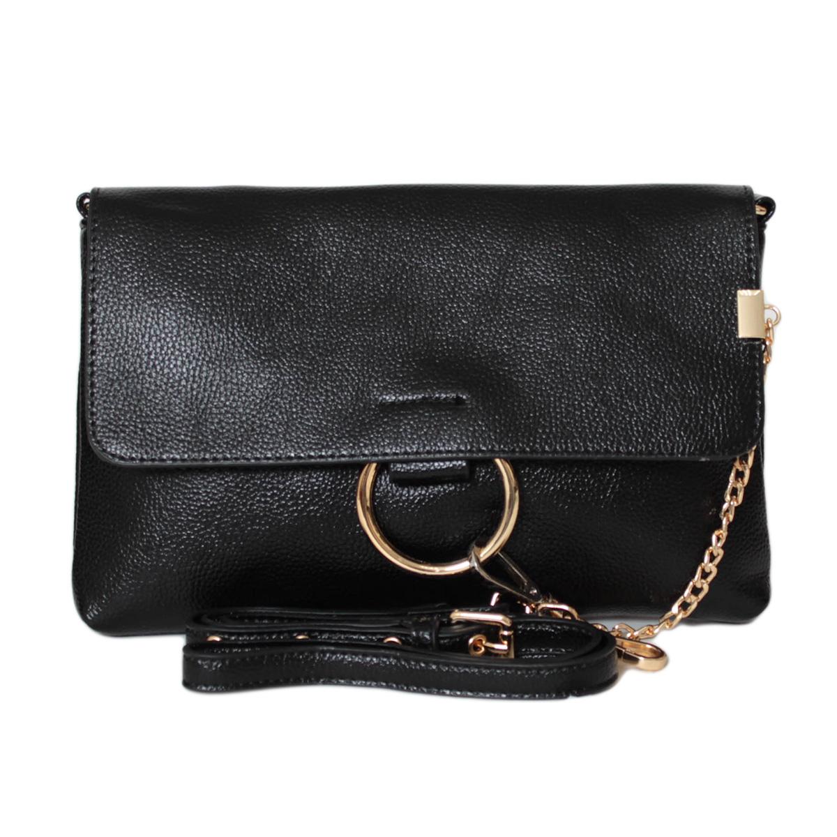 Сумка женская Flioraj, цвет: черный. 0005249700052497Закрывается на декоративный клапан. Внутри одно отделение, один карман на молнии и два открытых кармана.