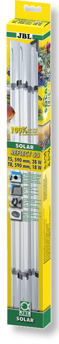 Отражатель JBL Solar Reflect 55, для люминесцентных ламп Т8 15 Вт/Т5 24 Вт, длина 55 cмJBL6173100Отражатель JBL Solar Reflect 55 М-образной формы увеличивает светоотдачу, так как находящаяся в центре лампа не загораживает отраженные от рефлектора лучи. Изделие оснащено установленными пластиковыми клипсами и защитными уголками. Отражатель выполнен из коррозионностойкого, прочного, зеркального алюминия. При использовании отражателя мощность лампы удваивается. Лампа не входит в комплект. Прекрасно подходит для аквариумов и террариумов. В комплект входя клипсы для Т5 ламп. Длина отражателя: 55 см. Мощность для ламп: 15 Вт (Т8), 24 Вт(Т5).