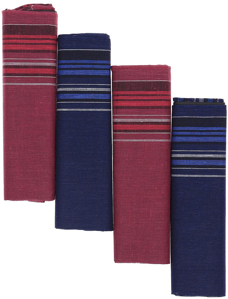 Платок носовой мужской Zlata Korunka, цвет: мультиколор, 4 шт. 71419-3. Размер 34 х 34 см71419-3Платки носовые мужские в упаковке по 4 шт. Носовые платки изготовлены из 100% хлопка, так как этот материал приятен в использовании, хорошо стирается, не садится, отлично впитывает влагу.