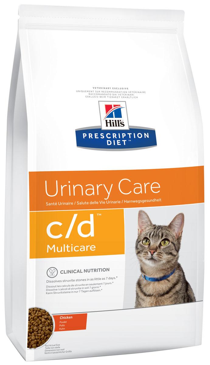 Корм сухой диетический Hills C/D для кошек, профилактика МКБ и струвитов, с курицей, 400 г5482Сухой корм для кошек Hills C/D - полноценный диетический рацион для кошек. Рекомендован при урологическом синдроме кошек склонных к набору веса (для снижения вероятности рецидивов струвитного уролитиаза). Рацион обладает закисляющими мочу свойствами и содержит умеренный уровень магния. Растворяет струвитные уролиты уже через 14 дней и предотвращает рецидивы заболевания. - Превосходный вкус понравится вашей кошке. - Супер Антиоксидантная формула повышает устойчивость клеток организма к воздействию свободных радикалов. Рекомендации по кормлению: суточная норма кормления указана на упаковке и должна быть расчитана в соответствии с размером животного, чтобы поддерживать оптимальный вес. Суточную норму можно разделить на 2 и более кормлений в день. Рекомендуемая продолжительность диетотерапии: до 6 месяцев. Обеспечьте питомца постоянным свободным доступом к свежей воде. Состав: зерновые злаки, мясо и пептиды животного происхождения,...