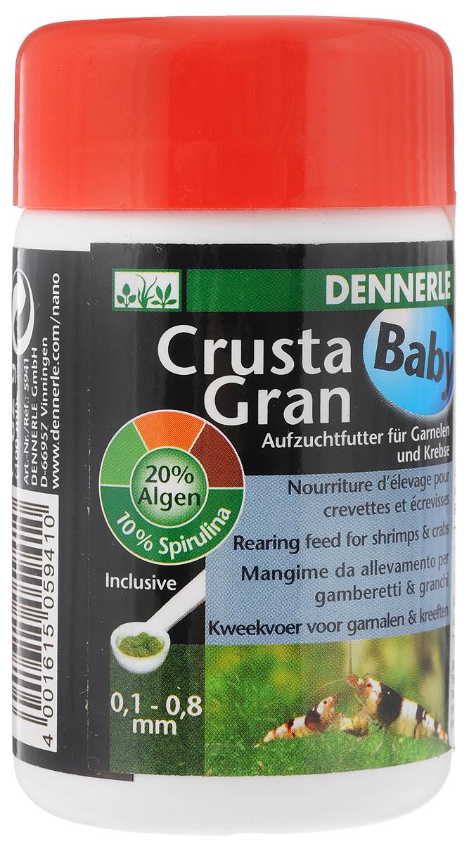 Корм Dennerle CrustaGran Baby, гранулированный, для молоди креветок и мелких раков, 100 млDEN5941Гранулированный корм Dennerle CrustaGran Baby предназначен для молоди креветок и мелких раков. Это биологически сбалансированное питание. Корм изготовлен в виде гранул, которые не размокают в воде в течении 24 часов, не мутят воду. Состав: моллюски и ракообразные, водоросли (20 %, из них 10% спирулина), овощи, рыба и рыбные субпродукты, масла и жиры. Товар сертифицирован.