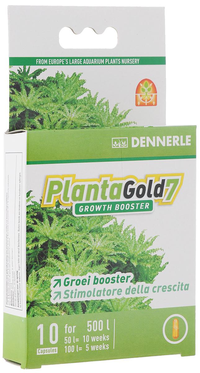 Удобрение для аквариумных растений Dennerle Planta Gold 7, стимулятор роста, в капсулах, 10 штDEN4552Удобрение Dennerle Planta Gold 7 предназначено для активной стимуляции роста всех видов аквариумных растений. Натуральные биоэнзимы активируют деление клеток и, как следствие, стимулируют рост. Удобрение восстанавливает неиспользованные питательные вещества, делая их вновь доступными для растений. Planta Gold 7 эффективно помогает при замедлении роста. Дозировка: 1 капсула на 50 литров аквариумной воды раз в неделю.