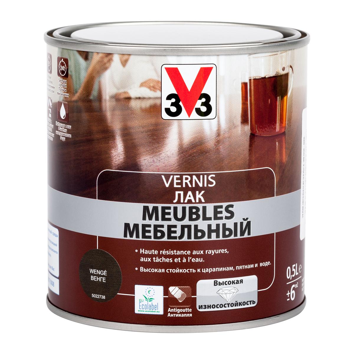 """Лак мебельный """"V33"""", акриловый, цвет: венге, 500 мл 102206"""