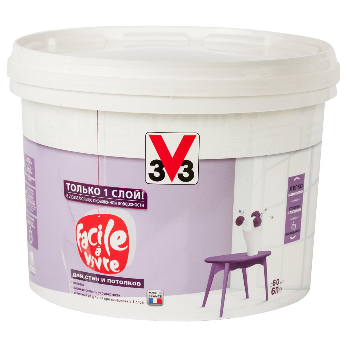 "Краска для стен и потолков V33 ""Facile A Vivre"", 6 л 106872"