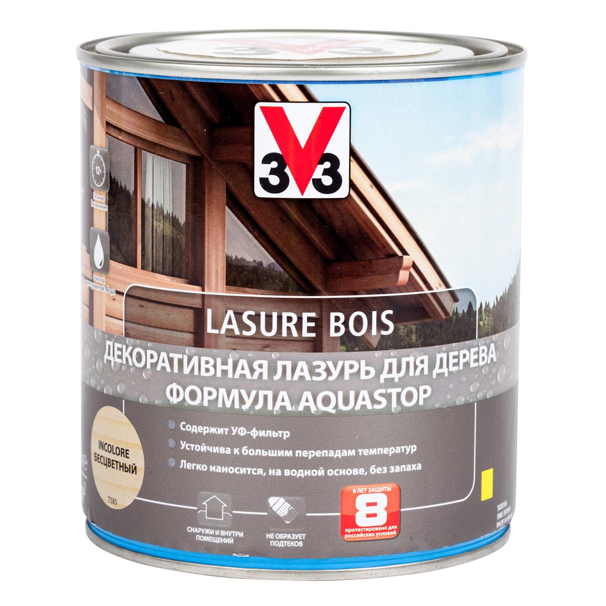 """Лазурь для дерева декоративная V33 """"Aquastop"""", цвет: бесцветный, на водной основе, 750 мл 107824"""