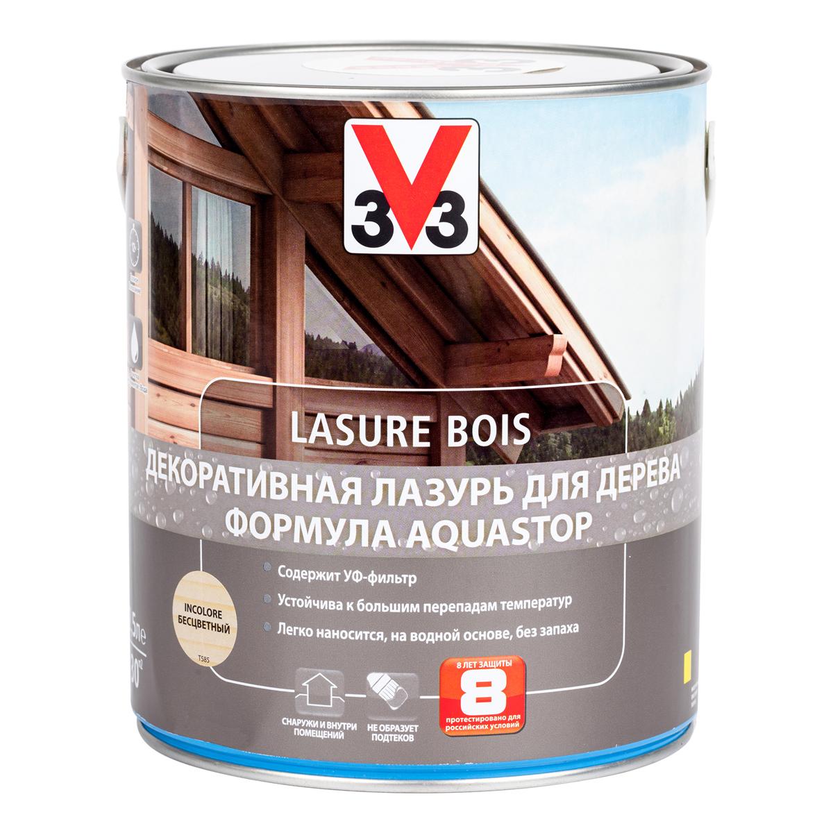 """Лазурь для дерева декоративная V33 """"Aquastop"""", цвет: бесцветный, на водной основе, 2,5 л 107832"""