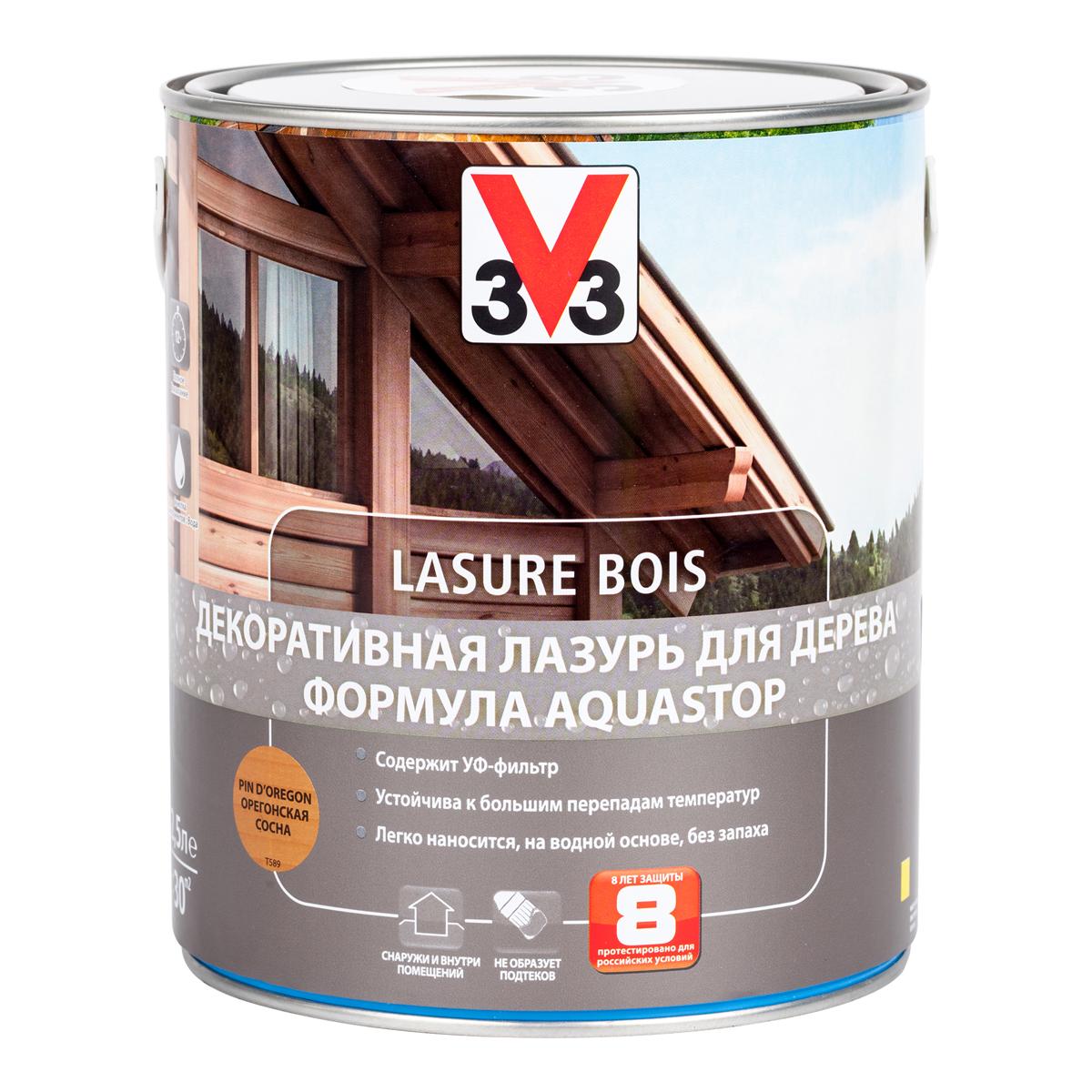 """Лазурь для дерева декоративная V33 """"Aquastop"""", цвет: орегонская сосна, на водной основе, 2,5 л 107836"""