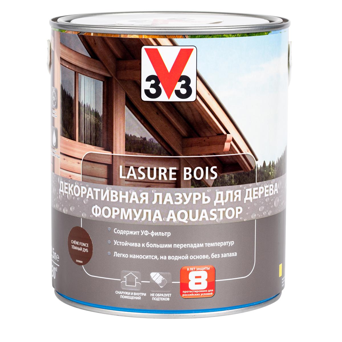 """Лазурь для дерева декоративная V33 """"Aquastop"""", цвет: дуб темный, на водной основе, 2,5 л 107838"""