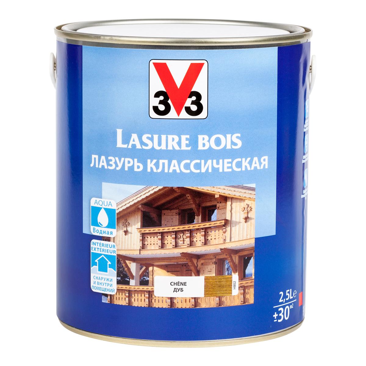 """Лазурь для защиты древесины V33 """"Классическая"""", цвет: дуб, на водной основе, 2,5 л 51793"""
