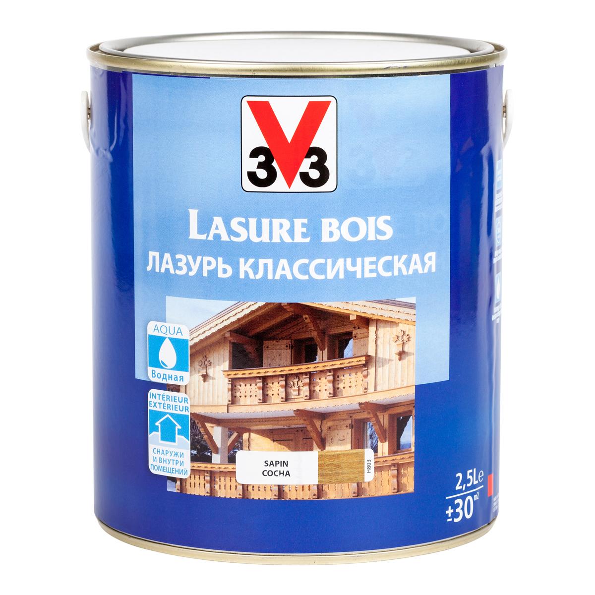 """Лазурь для защиты древесины V33 """"Классическая"""", цвет: сосна, на водной основе, 2,5 л 51796"""