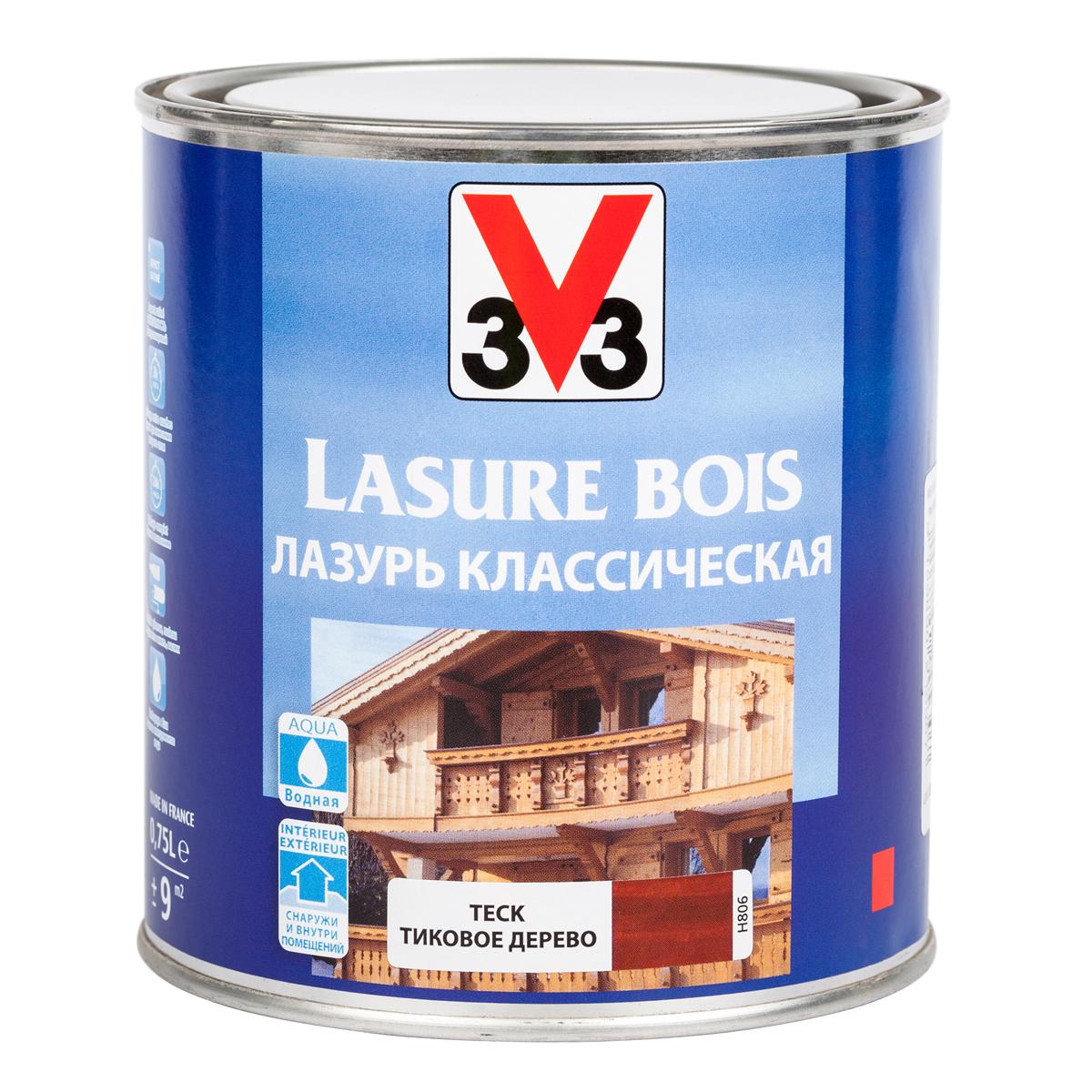 """Лазурь для защиты древесины V33 """"Классическая"""", цвет: тиковое дерево, на водной основе, 750 мл 51803"""