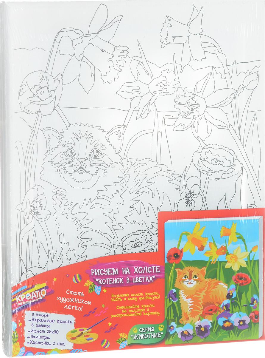 Креатто Набор для росписи по холсту Котенок в цветах
