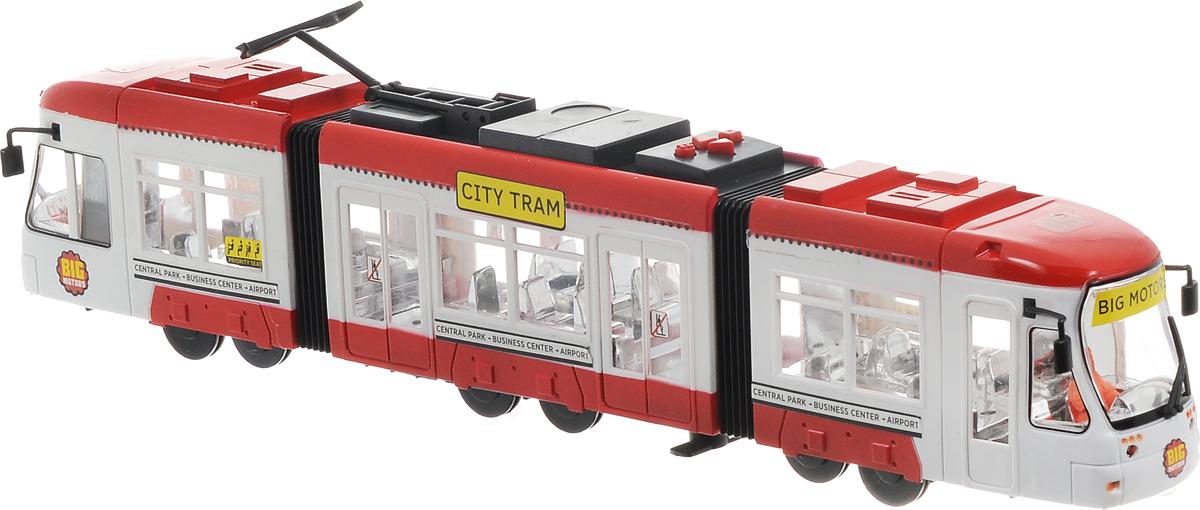 Big Motors Городской трамвай цвет красный белый1258_красныйИгрушка Big motors Городской трамвай, не оставит равнодушным вашего малыша. Выполненный из пластика трамвай оснащен световыми и звуковыми эффектами, которые активируются с помощью кнопок на крыше: квадрат - объявление остановки (на английском); круг - звучит песенка, и трамвай едет; треугольники - движение вперед и назад. Токоприемник трамвая подвижный, можно регулировать его высоту и наклон. Ваш ребенок будет часами играть с этой игрушкой, придумывая различные истории. Порадуйте его таким замечательным подарком! Для работы игрушки необходимы 3 батарейки типа АА напряжением 1,5V (товар комплектуется демонстрационными).