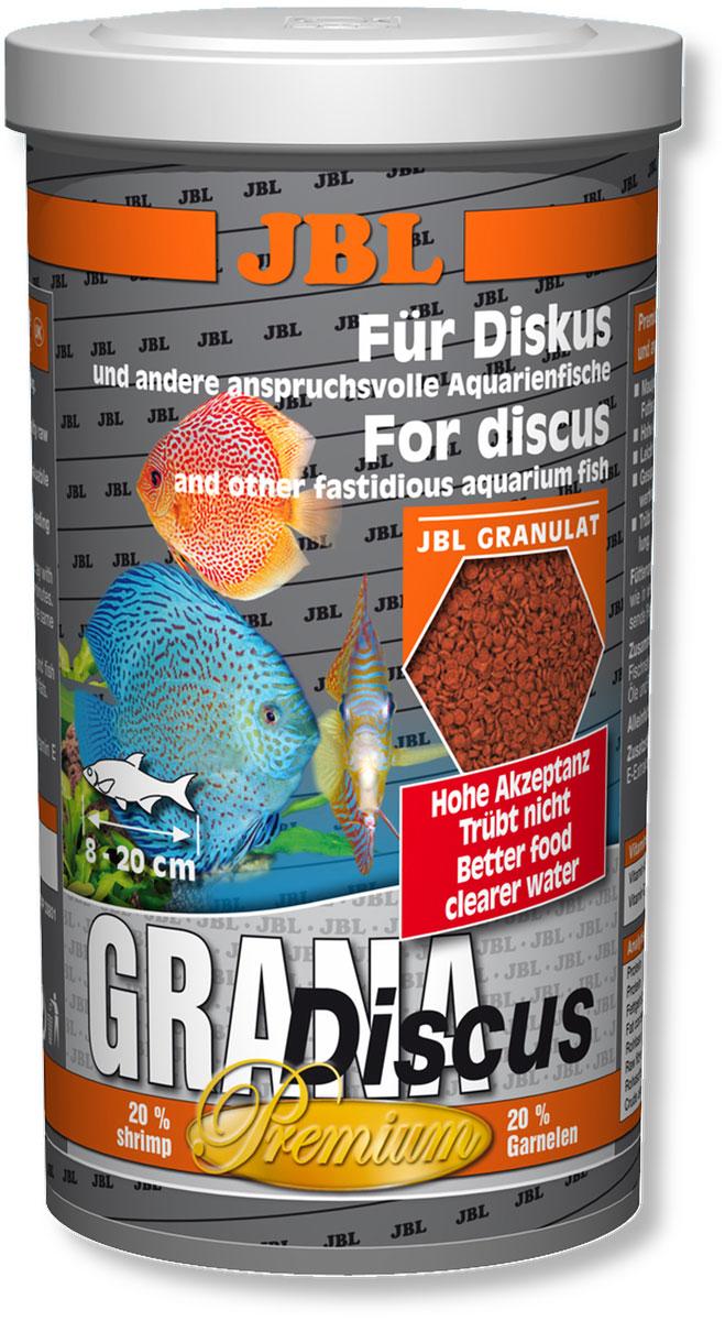 Корм JBL Grana-Discus для дискусов, в форме гранул, 440 г (1 л)JBL4052100Корм JBL Grana Discus представляет собой богатые питательными веществами гранулы для дискусов и других разборчивых в питании аквариумных рыб, таких как маленькие пестрые окуни, скалярии и другие декоративные рыбы. Гранулы уходят под воду с различной скоростью, благодаря чему корм могут получать рыбы, находящиеся в различных слоях аквариума. Комбинация протеинов, жиров и углеводов, а также минералов и микроэлементов, подобранная специально под питательные потребности указанной группы рыб, поддерживает их рост. Каротиноиды, а также жизненно важные витамины заботятся о естественной яркости окраски и укрепляют здоровье рыб. Содержит 20% креветок. Корм предназначен для рыб длиной 8-20 см. Рекомендации по кормлению: 2-3 раза в день в количестве, которое съедается рыбами за 2-3 минуты. Состав: моллюски и ракообразные, злаки, овощи, растительные побочные продукты, масла и жиры, рыба и рыбные побочные продукты. Анализ: протеин...