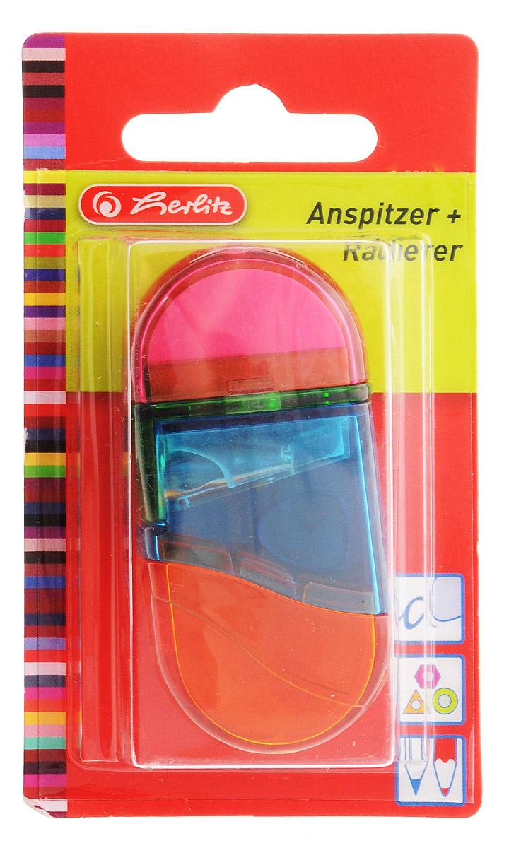 Herlitz Точилка с контейнером и ластиком цвет розовый синий желтый10198612_розовый/синий/желтыйТочилка Herlitz с контейнером для стружек и ластиком выполнена в прозрачном пластиковом корпусе и предназначена для заточки карандашей диаметром 8 мм. Металлическое лезвие высокого качества быстро заточит любой карандаш. Ластик изготовлен из термопластичного каучука и хорошо стирает линии.