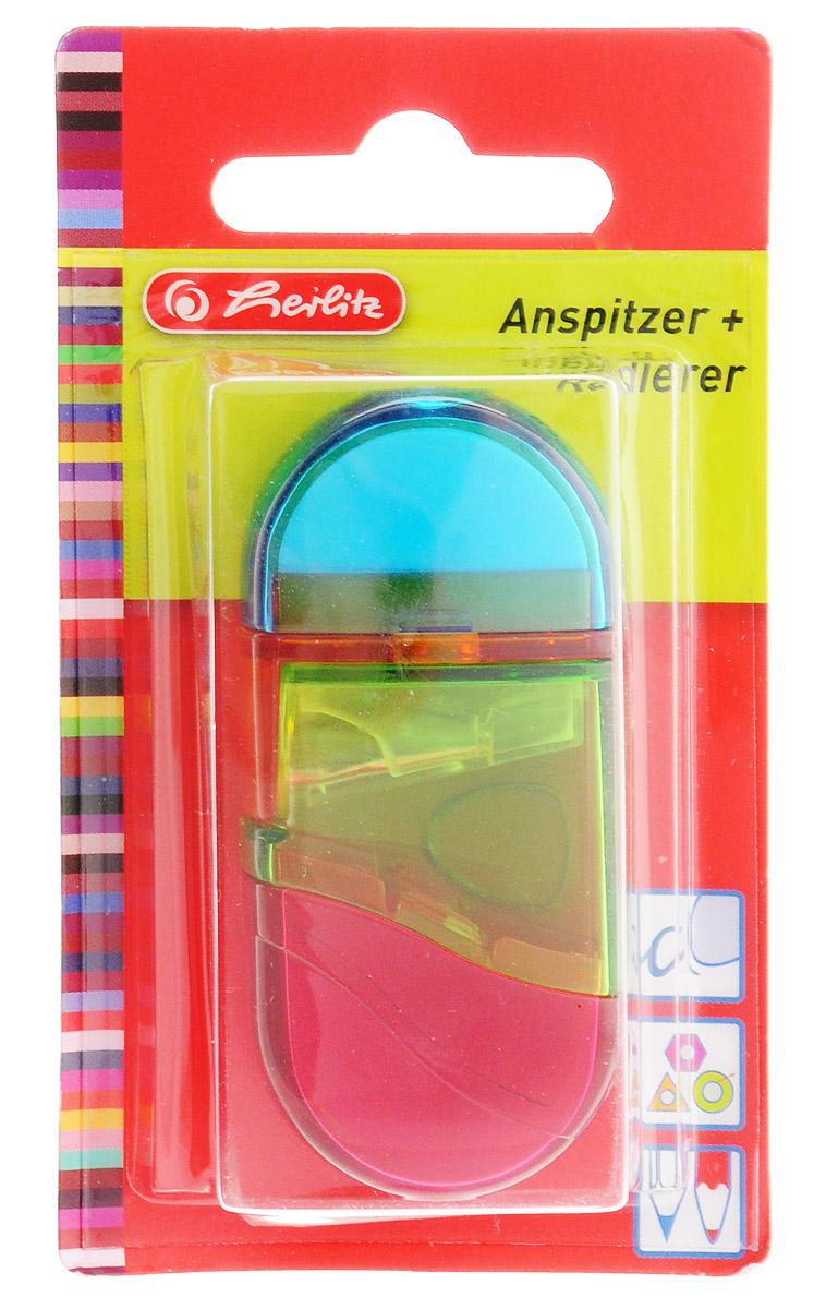 Herlitz Точилка с контейнером и ластиком цвет голубой зеленый красный10198612_голубой/зеленый/красныйТочилка Herlitz - качественная простая точилка с контейнером для стружек и ластиком. Точилка выполнена в прозрачном пластиковом корпусе и предназначена для заточки карандашей любой формы диаметром 8 мм. Металлическое лезвие высокого качества быстро заточит любой карандаш. Ластик изготовлен из термопластичного каучука и хорошо стирает линии. Такой набор от Herlitz будет помощником для вас в любом проектном или учебном деле.