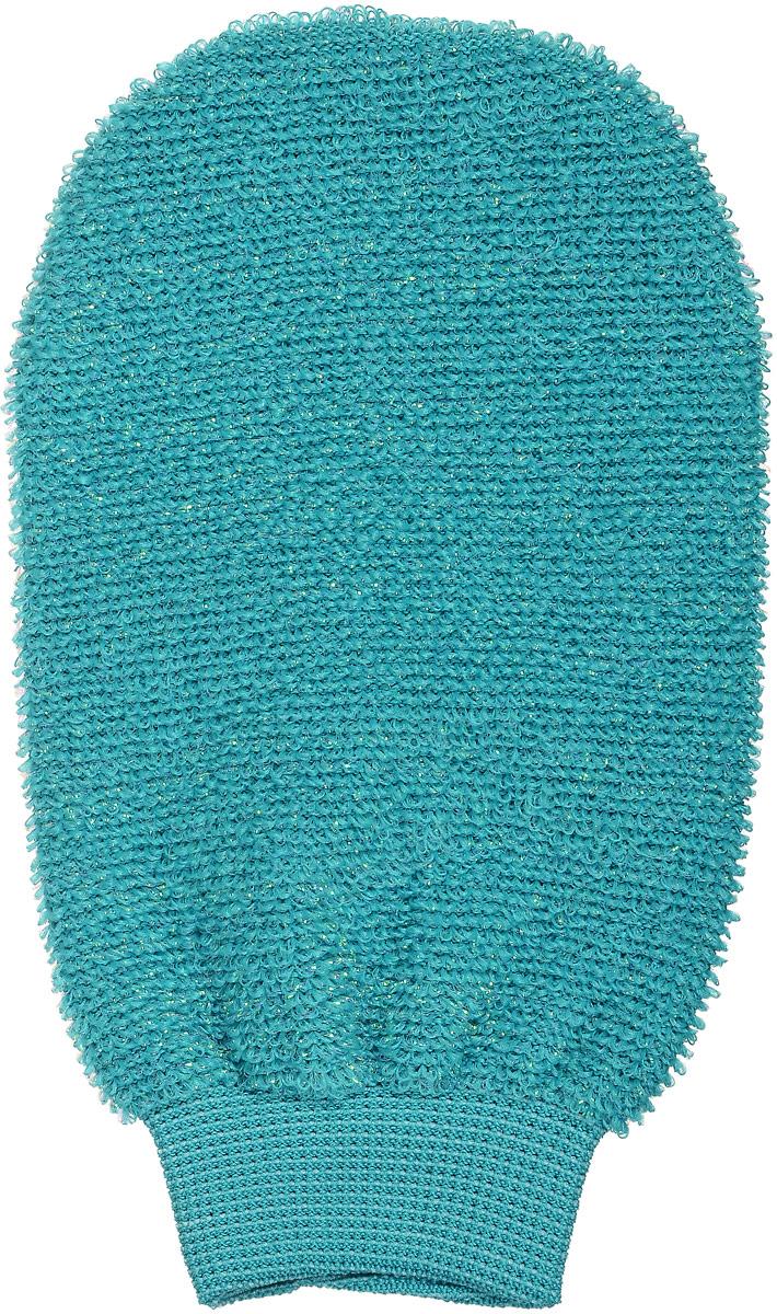 Мочалка-рукавица массажная Riffi, двухсторонняя, цвет: бирюзовый907_бирюзовый