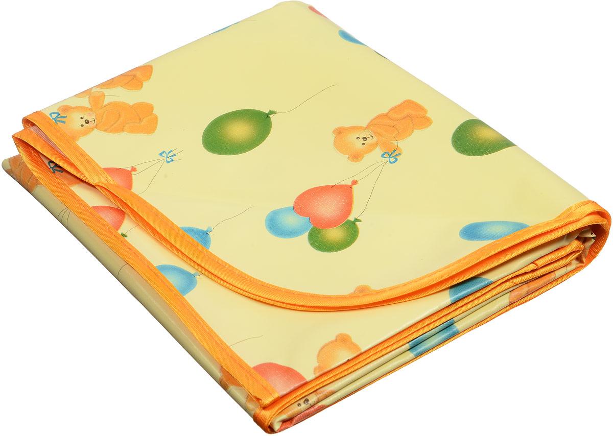 Колорит Клеенка подкладная с резинками-держателями цвет желтый, оранжевый 70 х 100 см0065_желтый/оранжевый