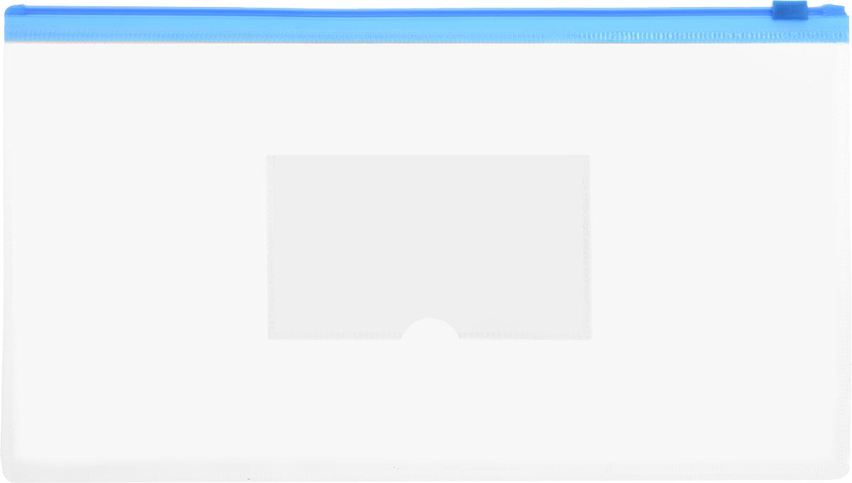 Бюрократ Папка-конверт на молнии с карманом под визитку цвет синий