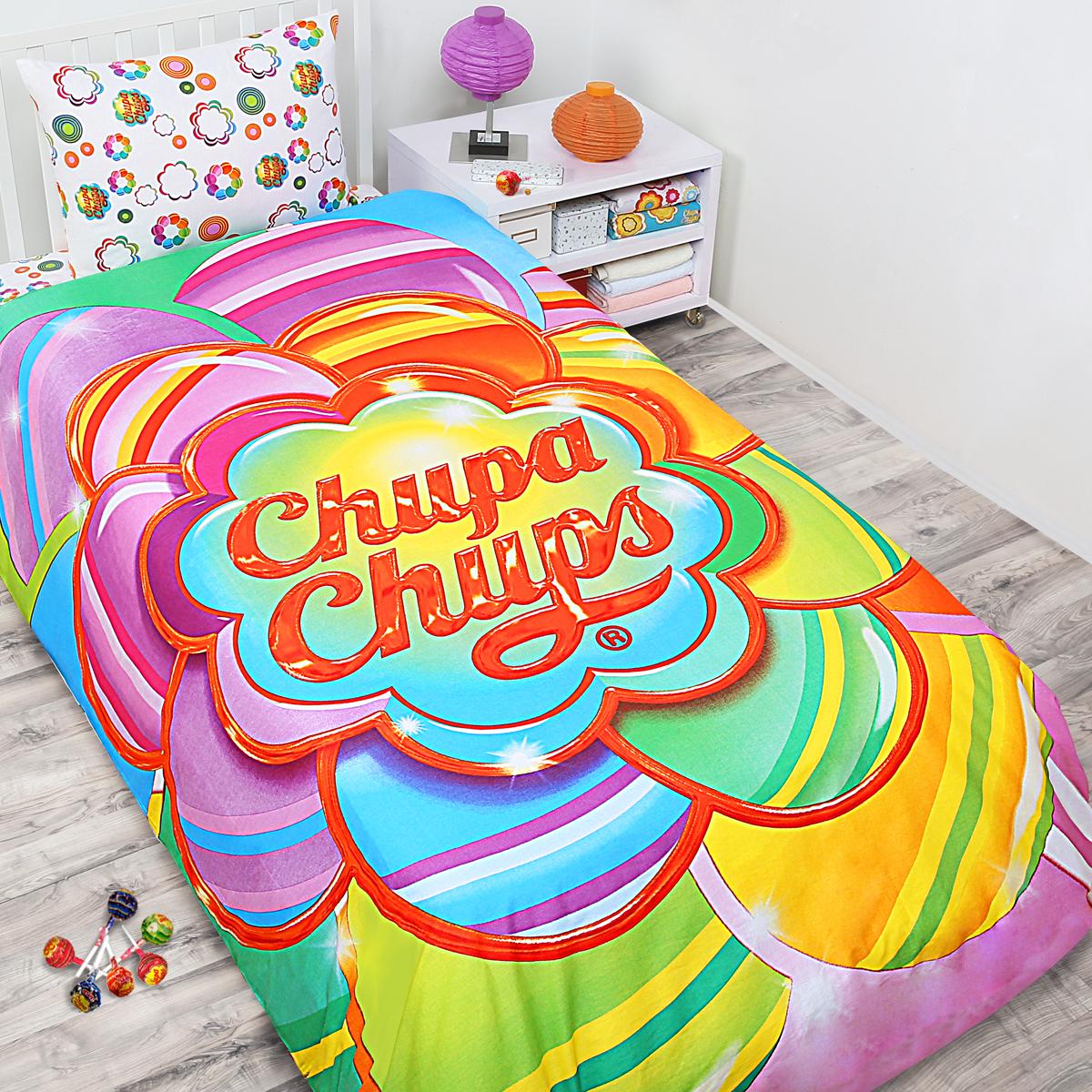 Комплект белья Chupa-Chups Радужный цветок (1,5-спальный КПБ, бязь, наволочки 50х70)