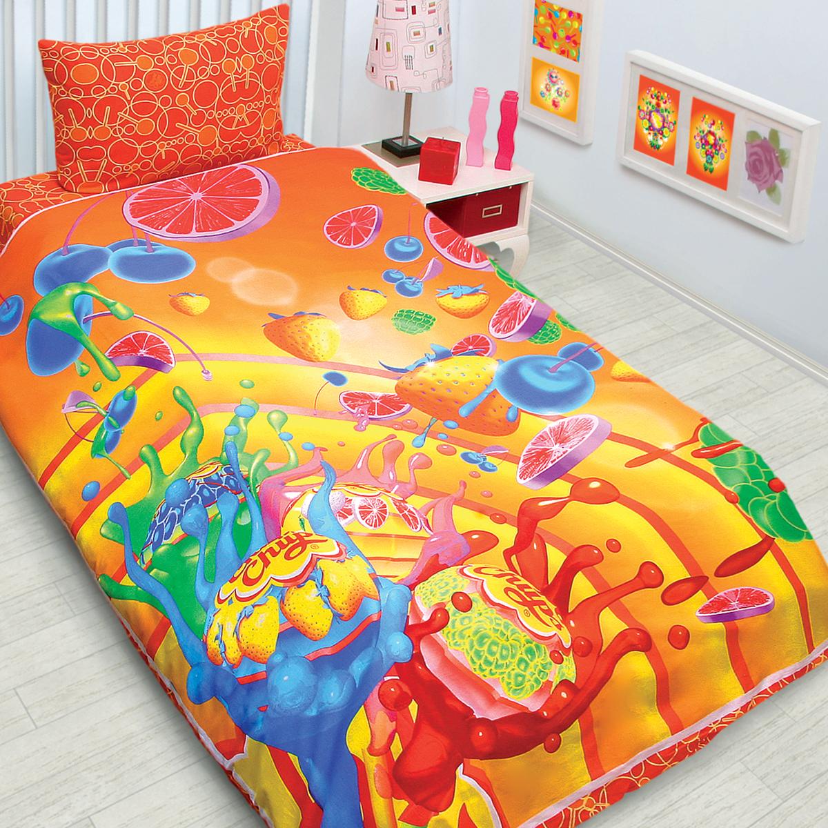 Комплект белья Chupa-Chups Ягодный взрыв (1,5-спальный КПБ, бязь, наволочки 50х70)
