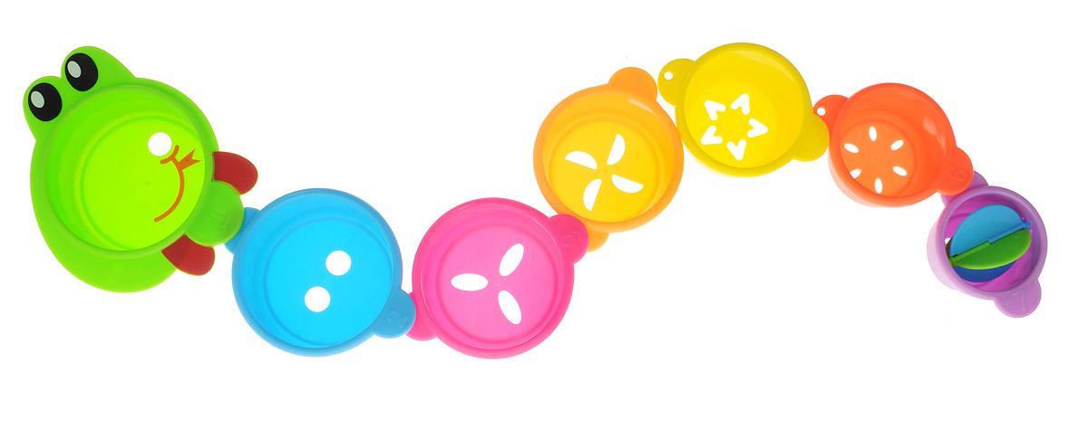 Малышарики Игрушка для ванной Змейка цвет салатовыйMSH0304-005Игрушка для ванной Малышарики Змейка выполнена в ярком дизайне и из безопасных материалов. Игрушка состоит из семи элементов в виде стаканчиков разных размеров и цветов. Благодаря специальным креплениям, стаканчики с фигурными отверстиями можно соединить в длинную змейку, либо построить высокую пирамидку. Самый маленький стаканчик содержит крышечку-карусель. Игрушка Змейка превратит купание в увлекательную игру, развивая при этом мелкую моторику и концентрацию внимания малыша, а также воображение и творческие способности. Рекомендуемый возраст: 1-3 года.