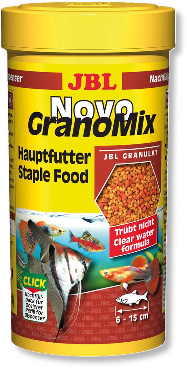Корм JBL NovoGranoMix Refill для рыб, в форме смеси гранул, 250 мл (115 г)JBL3010200Корм JBL NovoGranoMix Refill представляет собой гранулы с высоким содержанием питательных элементов, изготовленные по щадящей технологии с использованием кратковременного высокотемпературного нагревания. Часть гранул медленно погружается под воду, а часть некоторое время плавает на поверхности. Это дает возможность кормить рыб, находящихся в различных зонах аквариума. Четко выверенная комбинация из всех важных компонентов, таких как белки, жиры и углеводы, а также жизненно важные минералы и витамины обеспечивают здоровый рост и повышенную сопротивляемость болезням. Идеальный размер корма для рыб от 6 до 15 см. Рекомендации по кормлению: два или три раза в день порциями, которые могут быть съедены рыбами в течение нескольких минут. Мальков, естественно, чаще. Замечательно подходит для автоматических кормушек. Состав: белок 38%, жир 6%, клетчатка 4%, зола 9%, фосфор 0,9%. Содержание витаминов в 1000 г.: витамин А 25000 i.E., витамин D3 3000 i.E.,...