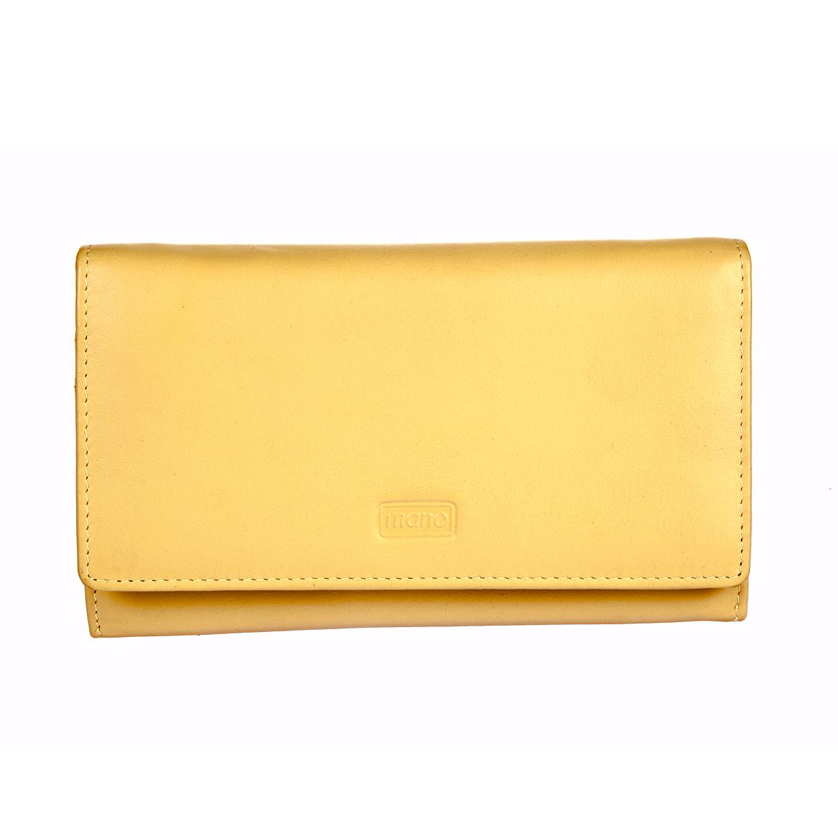 Кошелек женский Mano, цвет: желтый. 13407 SETRU yellow13407 SETRU yellowЗакрывается клапаном на кнопке внутри три отдела для купюр двойное отделение для мелочи закрывается на ориганильный замок потайной карман на молнии четыре кармана для документов пять кармашков для пластиковых карт сетчатый кармашек снаружи на задней стенке карман на молнии