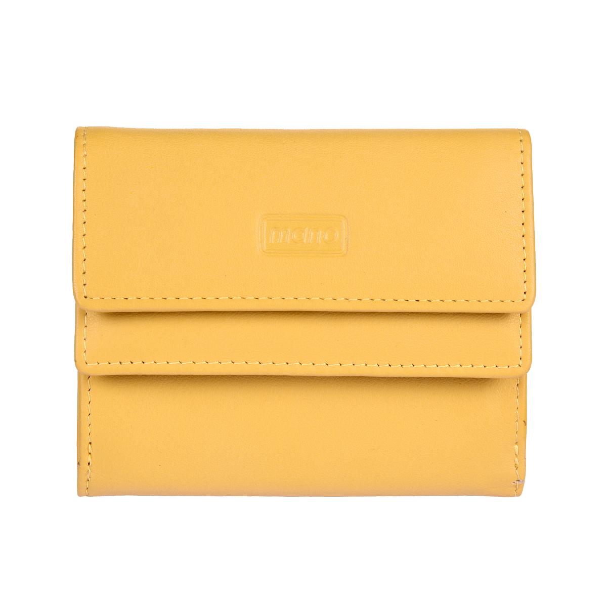 Кошелек женский Mano, цвет: желтый. 19006 SETRU yellow19006 SETRU yellowЗакрывается клапаном на кнопке внутри отделение для купюр четыре кармашка для пластиковых карт снаружи карман для мелочи на кнопке на нем кармашек для пластиковой карты