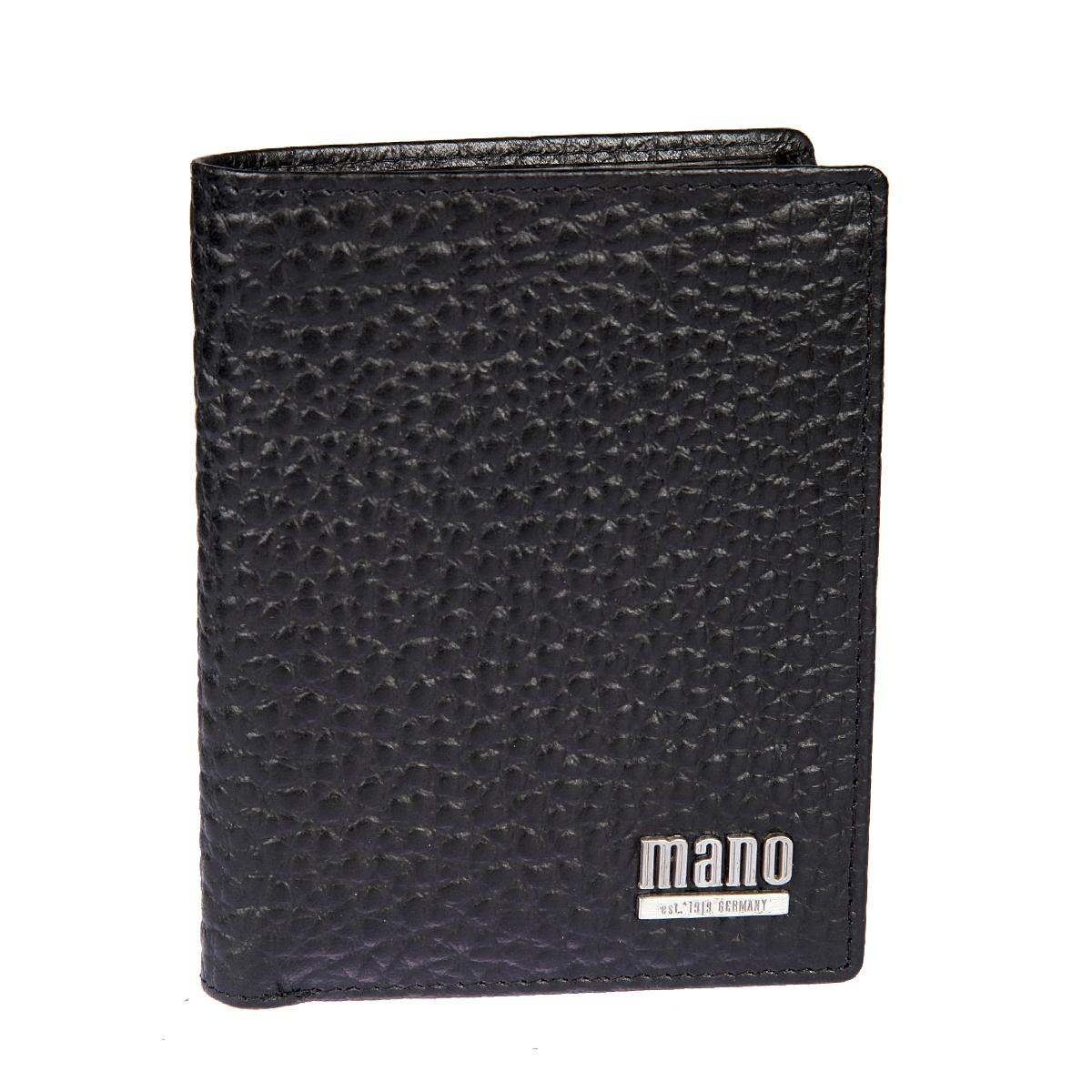 Портмоне мужское Mano, цвет: черный. 1953719537Раскладывается пополам внутри два отдела для купюр карман для мелочи на кнопке сетчатый карман восемь кармшков для пластиковых карт три потайных кармана