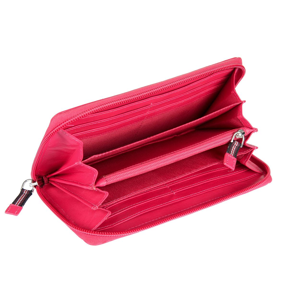 Кошелек женский Mano, цвет: розовый. 20102 Setru20102 SETRU pink-ceriseКошелек женский Mano выполнен из натуральной кожи. Модель закрывается по периметру на молнию, внутри четыре отдела для купюр, карман для мелочи на молнии, два кармана для документов, восемь кармашков для пластиковых карт.