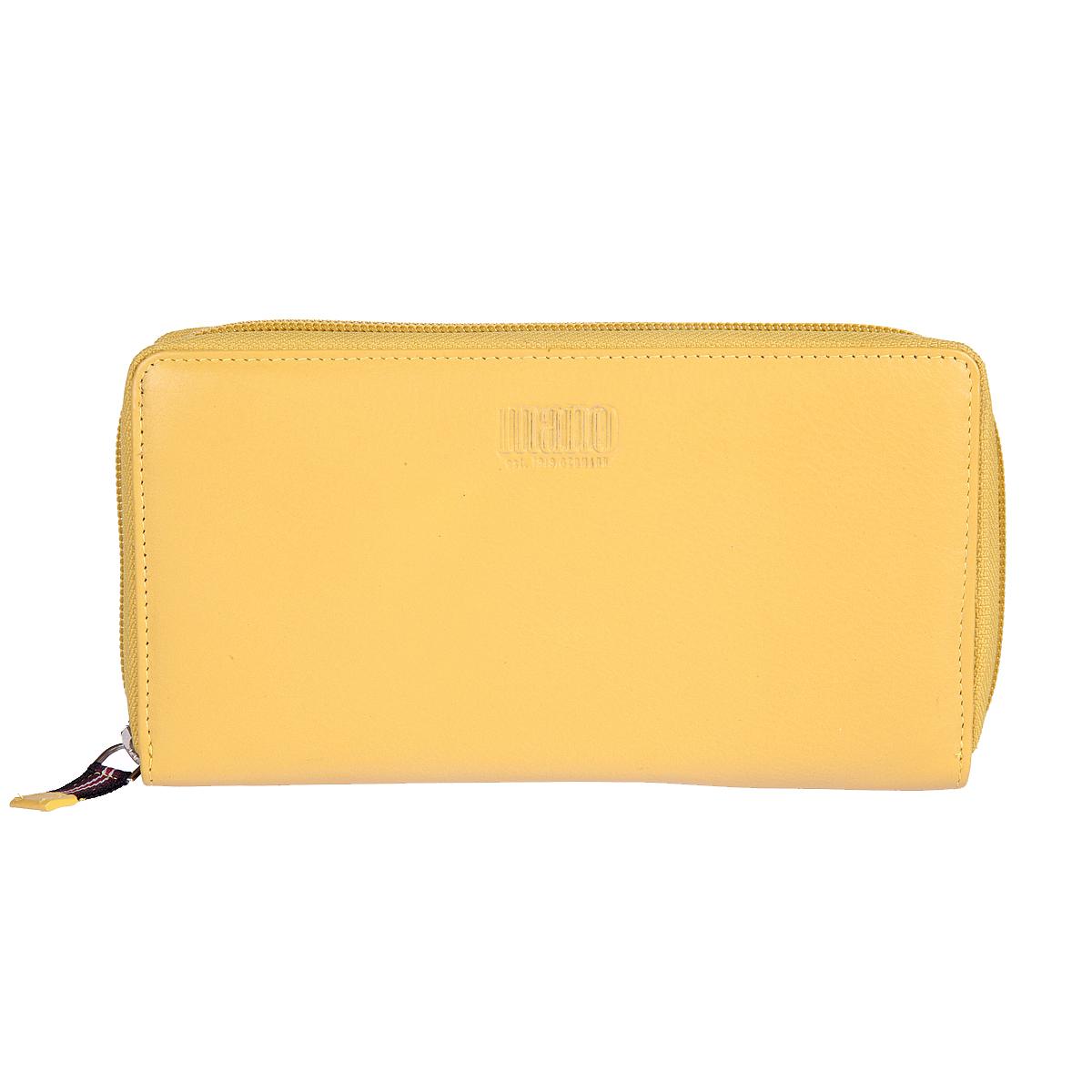 Кошелек женский Mano, цвет: желтый. 20102 SETRU yellow20102 SETRU yellowЗакрывается по периметру на молнию внутри четыре отдела для купюр карман для мелочи на молнии два кармана для документов восемь кармашков для пластиковых карт