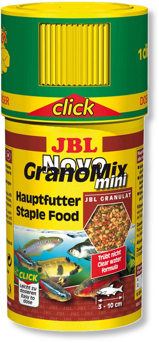Корм JBL NovoGranoMix mini для маленьких рыб, в форме смеси мини-гранул, 100 мл (42 г)JBL3010000Корм для рыб JBL NovoGranoMix mini представляет собой гранулы с высоким содержанием питательных элементов, изготовленные по щадящей технологии с использованием кратковременного высокотемпературного нагревания. Часть гранул медленно погружается под воду, а часть некоторое время плавает на поверхности. Это дает возможность кормить рыб, находящихся в различных зонах аквариума. Четко выверенная комбинация из всех важных компонентов, таких как белки, жиры и углеводы, а также жизненно важные минералы и витамины обеспечивают здоровый рост и повышенную сопротивляемость болезням. Крышка с мини-дозатором может быть просто навинчена на банку. Рекомендации по кормлению: два или три раза в день порциями, которые могут быть съедены рыбами в течение нескольких минут. Мальков естественно чаще. Замечательно подходит для автоматических кормушек. Идеальный размер корма для рыб от 3 до 10 см. Состав: белок 38%, жир 6%, клетчатка 4%, зола 9%,...
