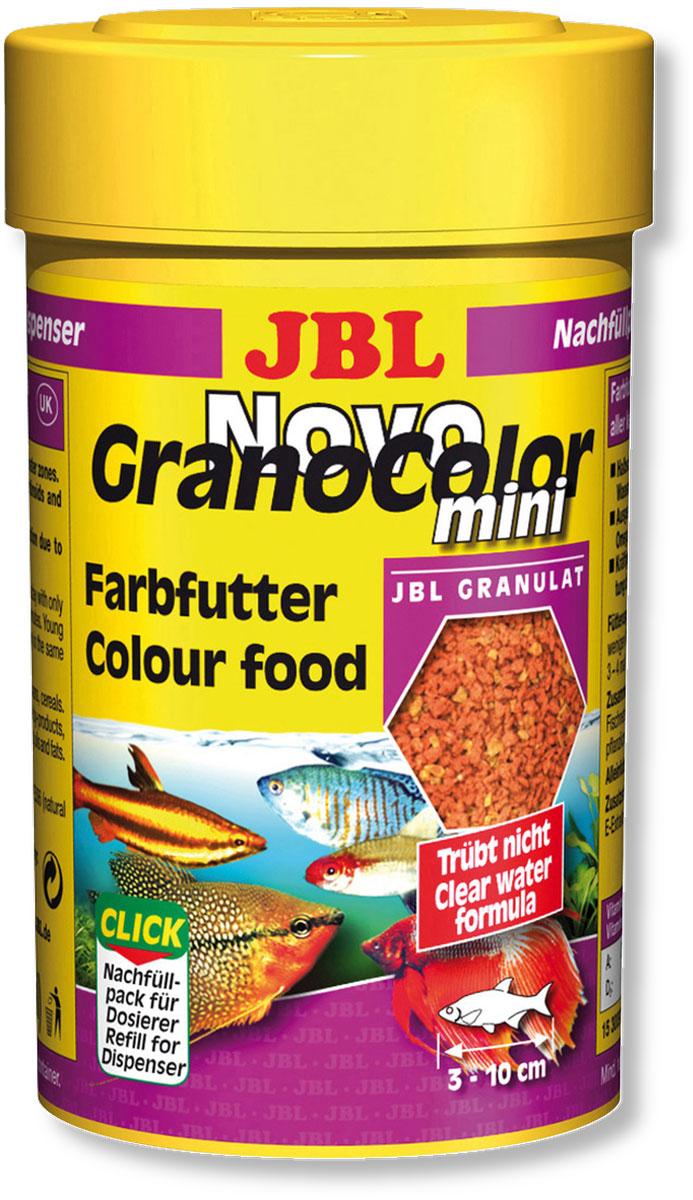 Корм JBL NovoGranoColor mini Refill для усиления цвета маленьких рыб, в форме мини-гранул, 100 мл (43 г)JBL3009700Корм JBL NovoGranoColor mini Refill - это основной корм для маленьких аквариумных рыбок размером от 3 до 10 сантиметров. В его состав входят сбалансированные элементы, необходимые для полноценного ежедневного питания. Количество микроэлементов и витаминов точно рассчитано для положительного влияния на рост и укрепление иммунитета. Основные элемент корма - каритиноиды, положительно влияющие на улучшение окраски. Благодаря тому, что гранулы при изготовлении подвергаются только краткосрочной обработке высокой температурой, в них сохраняются все питательные элементы. Они опускаются на дно неравномерно - часть остается в верхних слоях воды, что позволяет кормить рыбок на разных уровнях. Корм подходит для автоматических кормушек. Идеальный размер корма для рыб от 3 до 10 см. Состав: моллюски и ракообразные 24,9%, злаки 23,4%, рыба и рыбные побочные продукты 19,5%, растительные побочные продукты 12,2%, овощи 10,2%, экстракты растительного ...