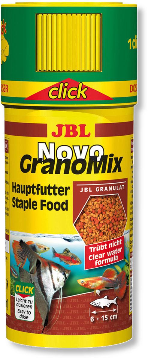 Корм JBL NovoGranoMix для рыб, в форме смеси гранул, 250 мл (110 г)JBL3010100Корм JBL NovoGranoMix представляет собой гранулы с высоким содержанием питательных элементов, изготовленные по щадящей технологии с использованием кратковременного высокотемпературного нагревания. Часть гранул медленно погружается под воду, а часть некоторое время плавает на поверхности. Это дает возможность кормить рыб, находящихся в различных зонах аквариума. Четко выверенная комбинация из всех важных компонентов, таких как белки, жиры и углеводы, а также жизненно важные минералы и витамины обеспечивают здоровый рост и повышенную сопротивляемость болезням. Идеальный размер корма для рыб от 6 до 15 см. Корм поставляется в банке с дозатором для точного дозирования гранул. Рекомендации по кормлению: два или три раза в день порциями, которые могут быть съедены рыбами в течение нескольких минут. Замечательно подходит для автоматических кормушек. Состав: белок 38%, жир 6%, клетчатка 4%, зола 9%, фосфор 0,9%. ...