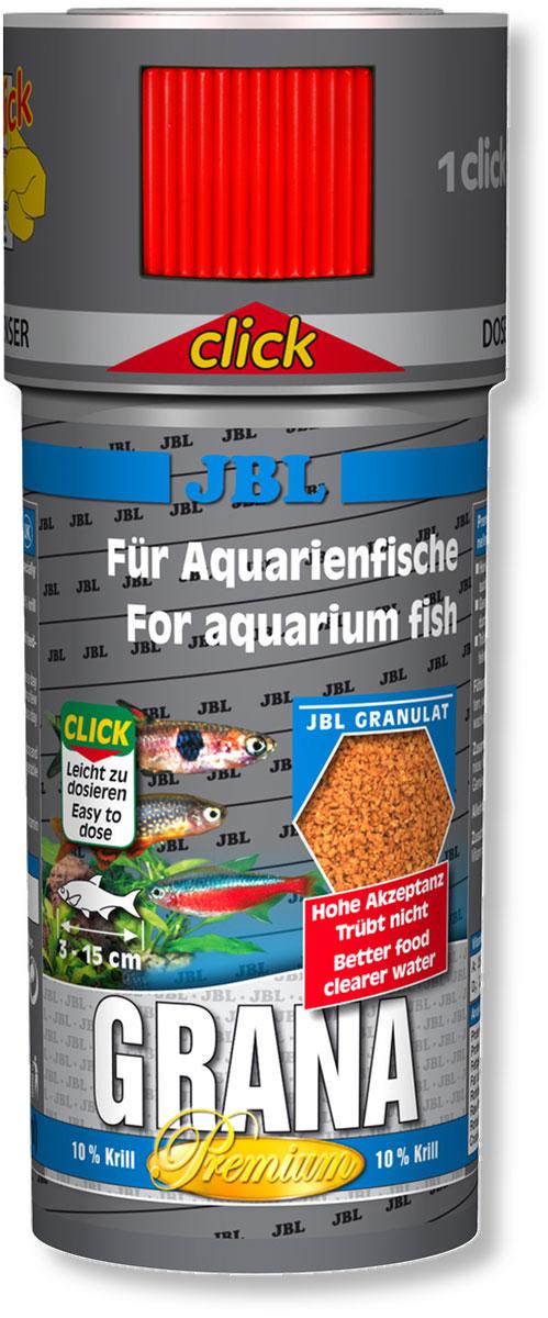 Корм JBL Grana Click для небольших рыб, в форме гранул, 250 мл (108 г)JBL4064700Корм JBL Grana Click представляет собой гранулированный, богатый питательными элементами, медленно опускающийся на дно корм для всех аквариумных рыб. Гранулы опускаются под воду с различной скоростью, что позволяет кормить рыб, обитающих в разных слоях аквариума. Высокое содержание питательных элементов и легкая перевариваемость способствуют быстрому насыщению крупных рыб при минимальной нагрузке на воду. Жизненно важные витамины улучшают здоровье и повышают иммунитет. Теперь корм JBL Grana Click поставляется в банке с дозатором для точного дозирования гранул. Содержит 10% криля. Рекомендации по кормлению: несколько раз в день небольшими порциями, которые могут быть съедены за несколько минут. Корм для рыб длиной от 3 до 15 см. Состав: белки 45%, жиры 6%, клетчатка 5%, зола 9,5%, витамин А 25000 I.E., витамин D3 2000 I.E., витамин Е 300 мг., витамин C 200 мг., злаки 25,53%, рыба и рыбные побочные продукты 19,64%, моллюски и...