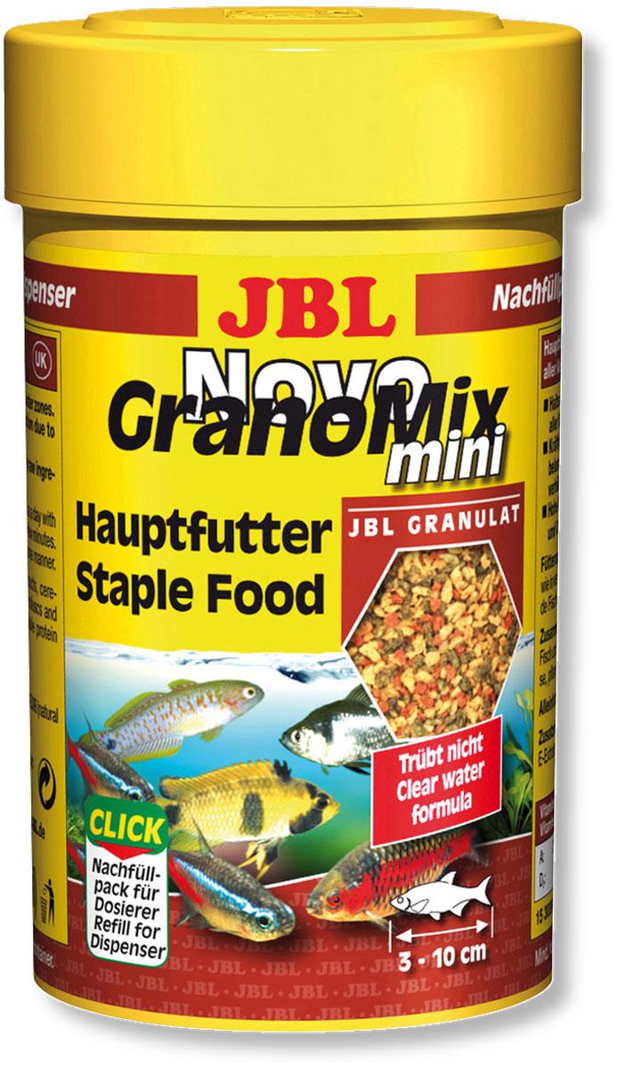 Корм JBL NovoGranoMix mini Refill для маленьких рыб, в форме смеси мини-гранул, 100 мл (42 г)JBL3009900Корм JBL NovoGranoMix mini Refill в форме смеси для маленьких аквариумных рыб. Корм представляет собой гранулы с высоким содержанием питательных элементов, изготовленные по щадящей технологии с использованием кратковременного высокотемпературного нагревания. Часть гранул медленно погружается под воду, а часть некоторое время плавает на поверхности. Это дает возможность кормить рыб, находящихся в различных зонах аквариума. Четко выверенная комбинация из всех важных компонентов, таких как белки, жиры и углеводы, а также жизненно важные минералы и витамины обеспечивают здоровый рост и повышенную сопротивляемость болезням. Замечательно подходит для автоматических кормушек. Технология быстрой высокотемпературной обработки делает корм легко усваиваемым, что уменьшает загрязнение воды. Идеальный размер корма для рыб от 3 до 10 см. Рекомендации по кормлению: два или три раза в день порциями, которые могут быть съедены рыбами в течение ...