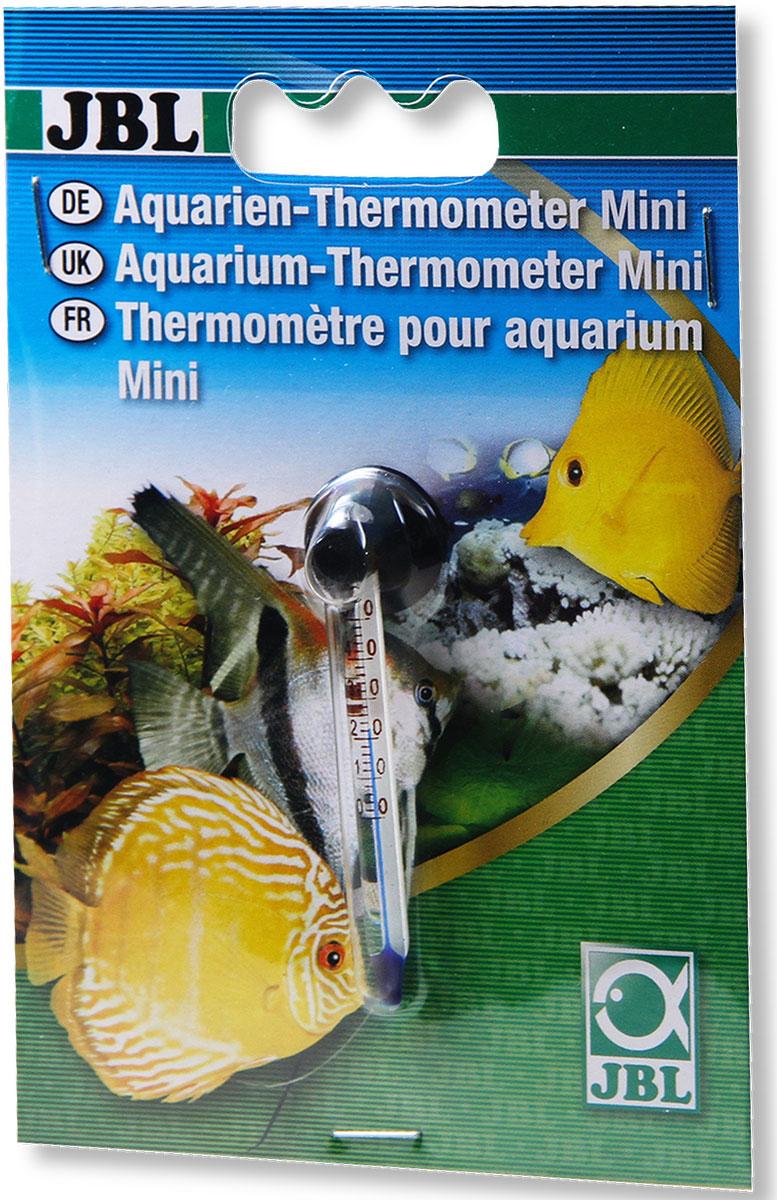 Термометр аквариумный JBL Mini, длина 6 смJBL6121600Термометр JBL Mini предназначен для измерения температуры воды в аквариуме. Изделие выполнено из высококачественного стекла и заполнено спиртовым раствором синего цвета. Точность измерения 0,2°С. Термометр крепится к стенке аквариума на ровную поверхность с помощью присоски. Удобная шкала, позволяет легко считывать показания. Измеряемая температура от 0°C до +50°C. Длина термометра: 6 см.