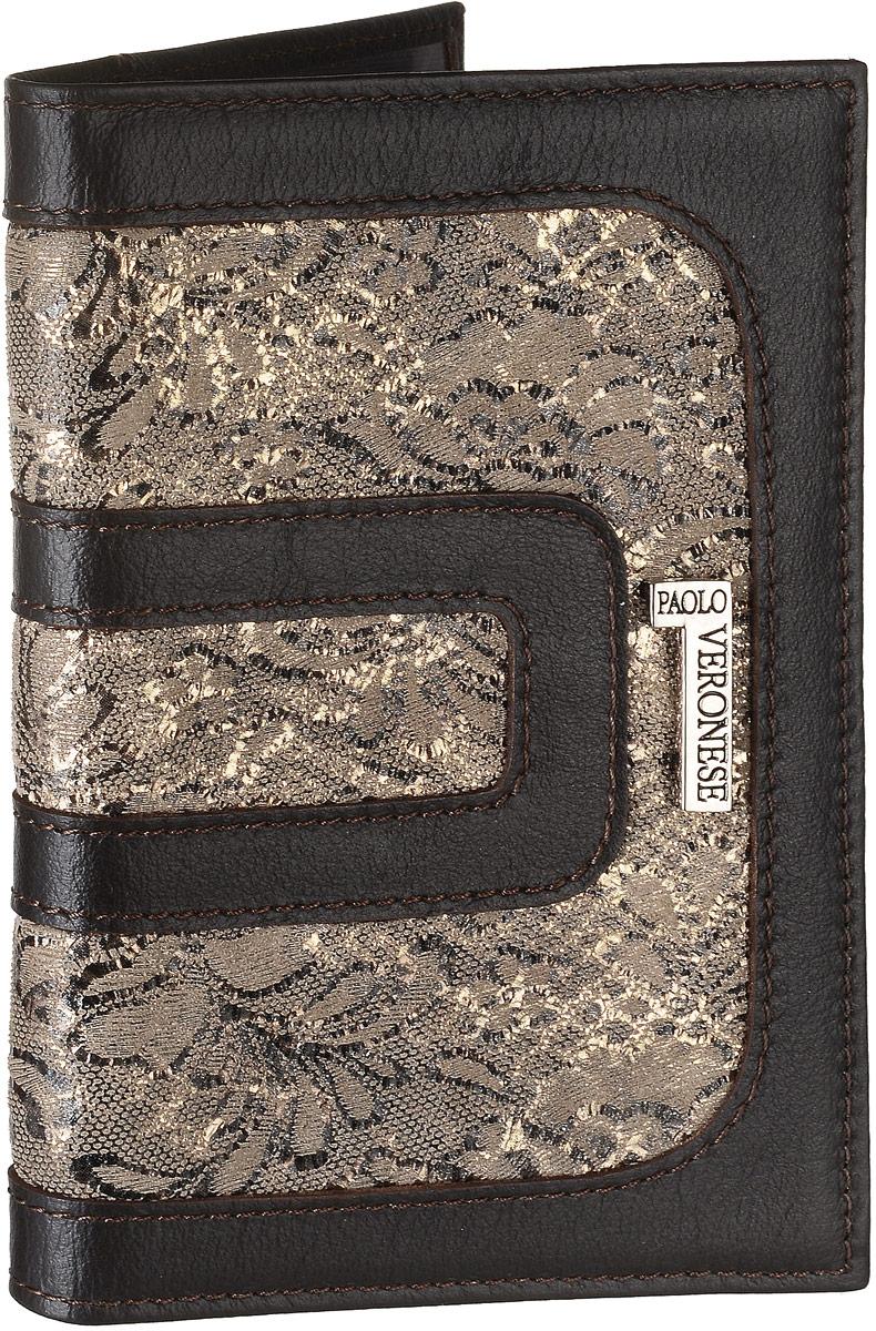Обложка для паспорта женская Paolo Veronese Vetta, цвет: темно-коричневый, серо-коричневый. 7-57-NK014/PV-NK014-OP0757-0007-57-NK014/PV-NK014-OP0757-000Обложка для паспорта Paolo Veronese Vetta выполнена из натуральной кожи и оформлена цветочным принтом из текстиля. Спереди модель дополнена небольшой металлической пластиной с названием бренда. Обложка не только поможет сохранить внешний вид ваших документов и защитить их от повреждений, но и станет стильным аксессуаром, идеально подходящим вашему образу. Обложка для паспорта модного дизайна может быть достойным и оригинальным подарком.