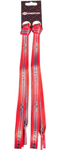 Шнурки Scull/Скалл, цвет: красный, черный, с серым логотипом, 90 см