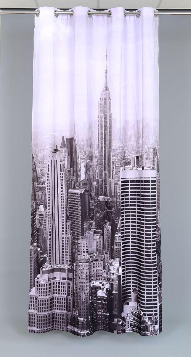 Штора Garden Manhattan City, на люверсах, высота 260 см53599Роскошная штора Garden Manhattan City выполнена из 100% полиэстера и украшена городским принтом. Оригинальная текстура ткани и изящный дизайн привлекут к себе внимание и позволят шторе органично вписаться в интерьер помещения. Эта штора будет долгое время радовать вас и вашу семью! Штора крепится при помощи люверсов. Диаметр люверсов: 4 см.