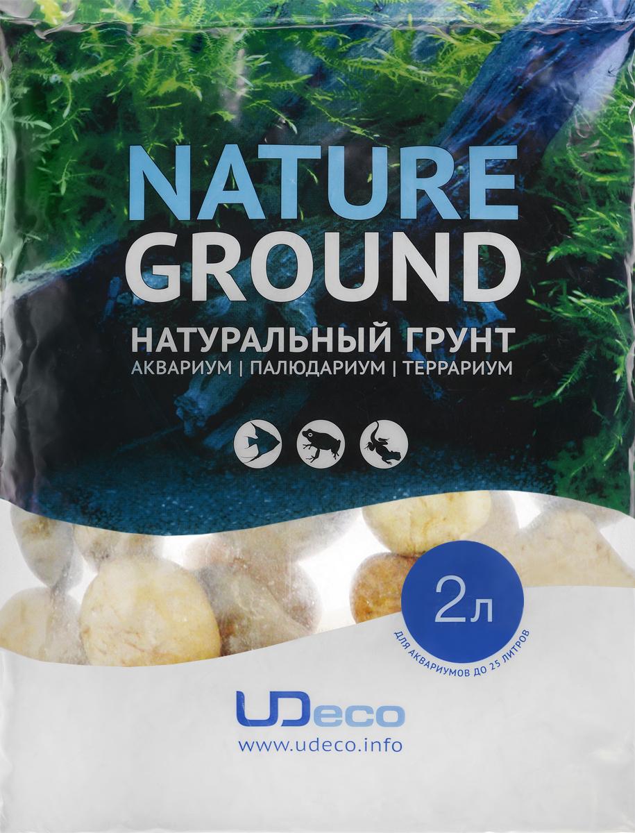 Грунт для аквариума UDeco Светлая галька, натуральный, 30-50 мм, 2 лUDC430242Натуральный грунт UDeco Светлая галька предназначен специально для оформления аквариумов, палюдариумов и террариумов. Изделие готово к применению. Грунт UDeco порадует начинающих любителей природы и самых придирчивых дизайнеров, стремящихся к созданию нового, оригинального. Такая декорация придутся по вкусу и обитателям аквариумов и террариумов, которые ещё больше приблизятся к природной среде обитания. Необходимое количество грунта рассчитывается по формуле: длина аквариума х ширина аквариума х толщина слоя грунта. Предназначен для аквариумов от 25 литров. Фракция: 30-50 мм. Объем: 2 л.