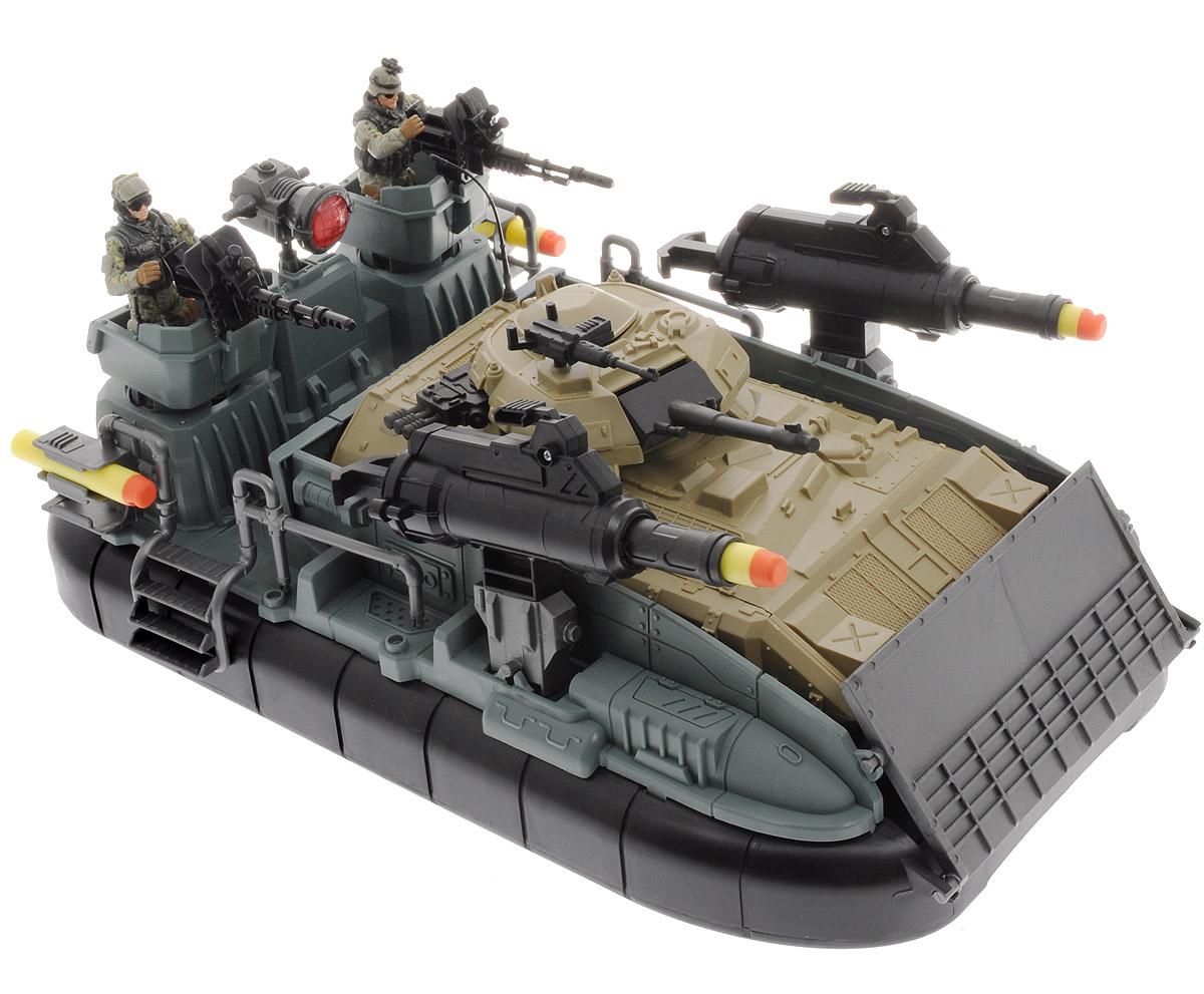 Chap Mei Игровой набор Морская десантная операция521024Замечательный игровой набор Chap Mei Морская десантная операция состоит из десантной лодки, танка, ракетных установок и двух фигурок. Набор включает в себя все, что нужно для настоящего любителя и ценителя игровых военных действий. Лодка на воздушной подушке оснащена световыми эффектами и вращающимися винтами. Эти элементы придадут играм больше реалистичности и, несомненно, привлекут внимание мальчишек. Все части комплекта изготовлены из качественного пластика. Корпус лодки легко вмещает и перевозит боевой танк. На лодке можно поместить фигурки военных с оружием. Башня танка и пушка могут поворачиваться. Лодка оборудована ракетными установками, которые стреляют специальными снарядами. Используя входящие в комплект аксессуары, ребенок может устроить интересные ролевые игры, а друзья с удовольствием к нему присоединятся. Для работы игрушки необходимы 3 батарейки АА (товар комплектуется демонстрационными).