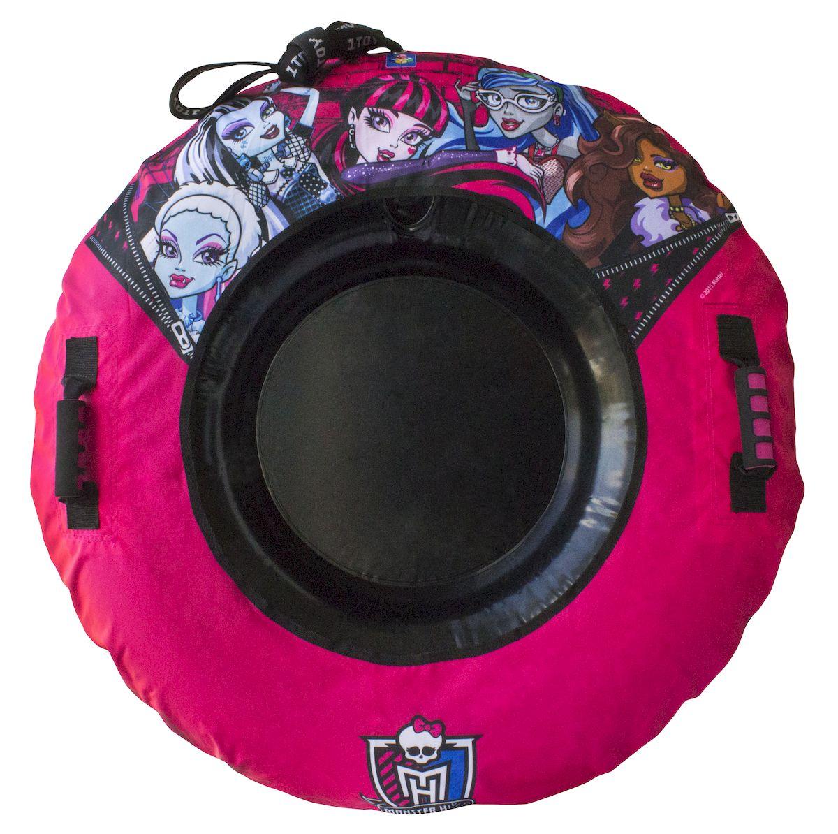 Тюбинг 1toy Monster High, с плотными ручками, 92 смТ56364Тюбинг (надувные сани) с внутренней камерой из ПВХ и наружним чехлом из нейлона 420 ден и ламинированного ПВХ, буксировочный фал