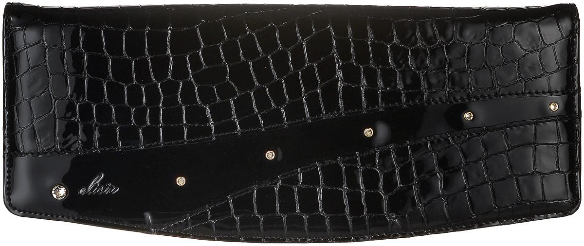 Клатч женский Elisir Ружена, цвет: черный. GS-9-L21-132EL-LK132-G0009-100Стильный клатч Elisir и коллекции Руженя выполнен из натуральной кожи. Изделие оформлено тиснением под крокодила. Клатч закрывается клапаном на магнитную кнопку. Внутри изделие содержит одно отделение, в котором предусмотрен накладной карман на молнии. Украшен модель кристаллами Swarovski. Оригинальный аксессуар позволит вам завершить образ и быть неотразимой.