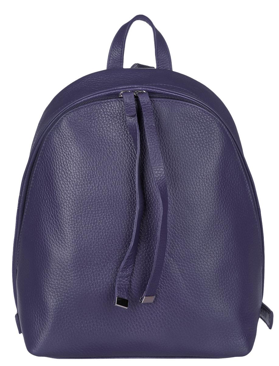 Рюкзак женский Afina, цвет: черничный. 237237Стильный рюкзак Afina понравится вам с первого взгляда. Рюкзак изготовлен из натуральной кожи зернистой текстуры. Изделие оснащено удобными лямками, длина которых регулируется с помощью пряжек и закрывается на удобную молнию. Внутри расположено одно отделение, которое содержит три открытых накладных кармана для мелочей и два кармана на молнии. Такой модный рюкзак займет достойное место в вашем гардеробе.